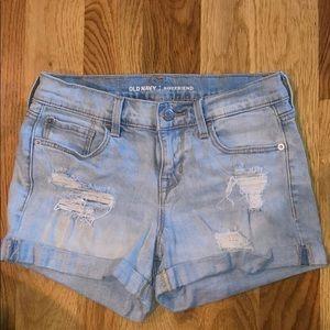Old Navy 0 Boyfriend Distressed Denim Shorts